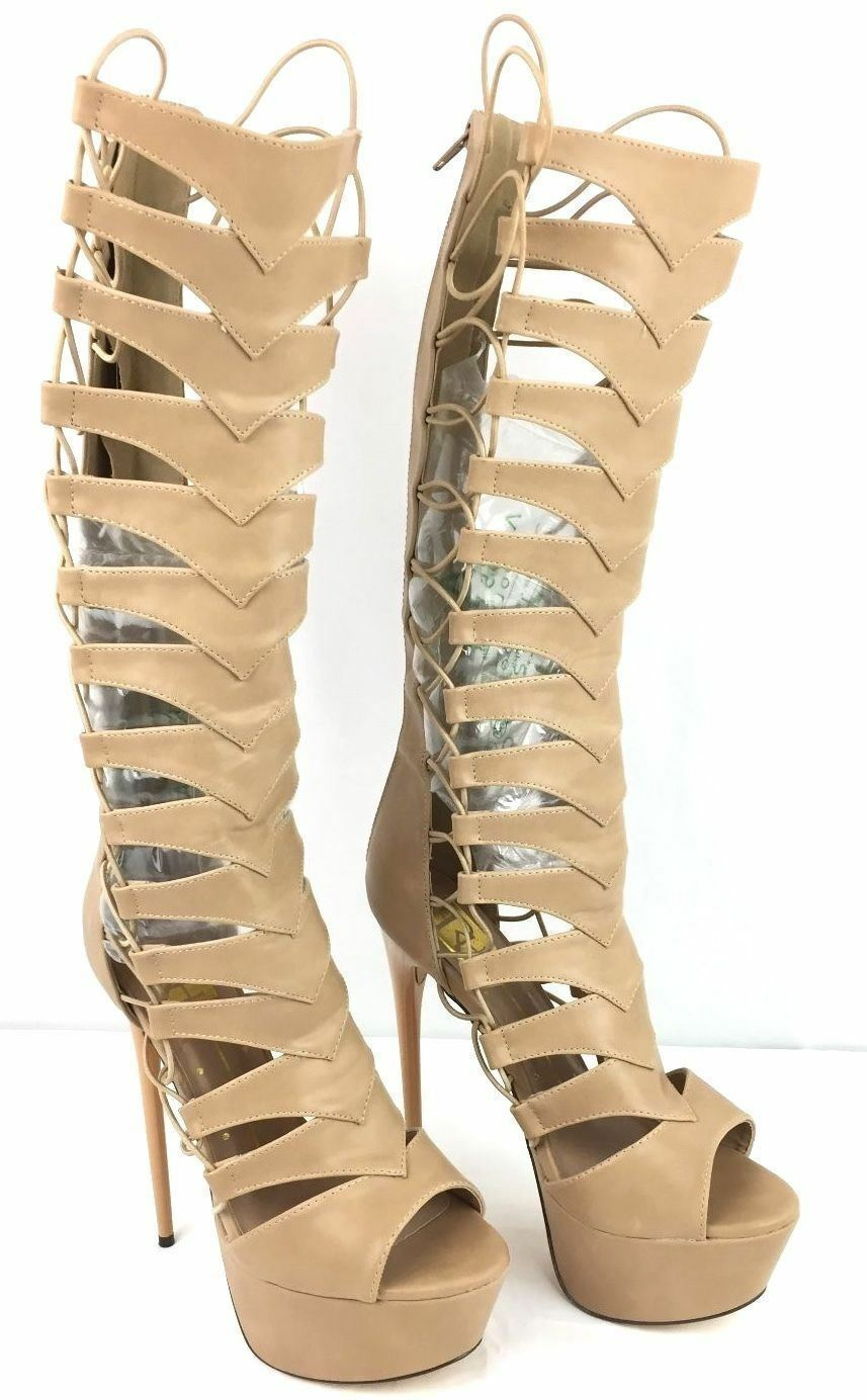 FAHRENHEIT Knee High Hidden Platform Stiletto Heel Gladiator Peeptoe Sandal Boot