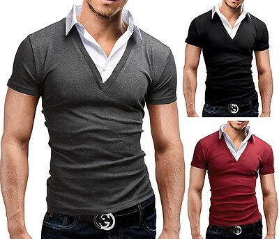 Herren Polo Shirt Kurzarm Hemd V-Ausschnitt Slim Fit Figurbetont MERISH 21