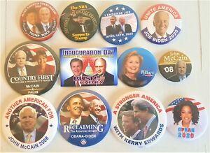 12-Kampagne-Knoepfe-Trump-Biden-Obama-McCain-Kerry-mehr-Set-2bb