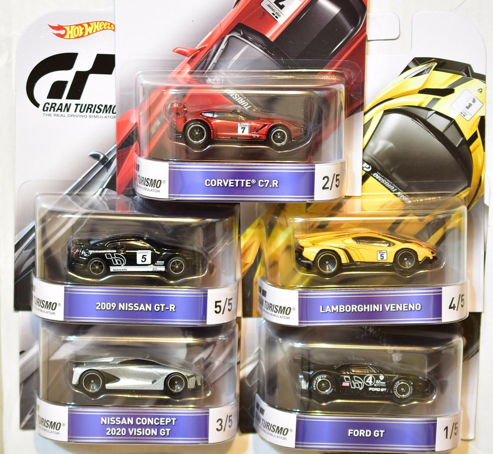 HOT WHEELS RETRO ENTERTAINMENT 2016 COMPLETE SET OF 5 GRAN TURISMO BAD CARDS