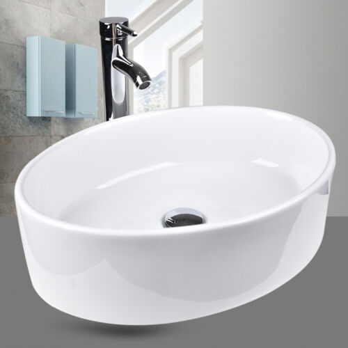 Bathroom Sink Vanity Basin White Vessel Porcelain Ceramic Bowl Pop Up Drain Set