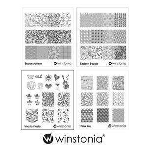 Winstonia-Nail-Art-Stamping-Image-Plates-Bundle-Disc-Sea-Wave-Fiesta-Pattern-USA