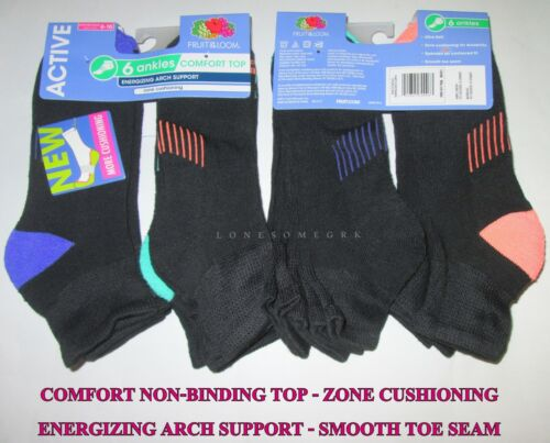 6 Prs Womens Fruit Of The Loom Comfort Non-Binding Top Arch Support Ankle Socks