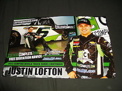 "2012 JUSTIN LOFTON /""COLLEGE COMPLETE/"" #6 NASCAR CWTS POSTCARD"