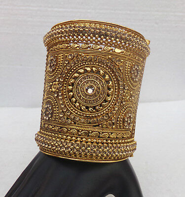 Ethnic Indian Lct Golden Women Bangle Kada Designer Polki Cuff