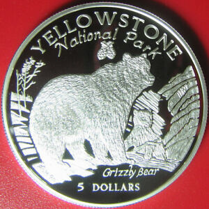 1996-COOK-ISLANDS-5-SILVER-PROOF-034-GRIZZLY-BEAR-amp-CUB-034-YELLOWSTONE-NATIONAL-PARK