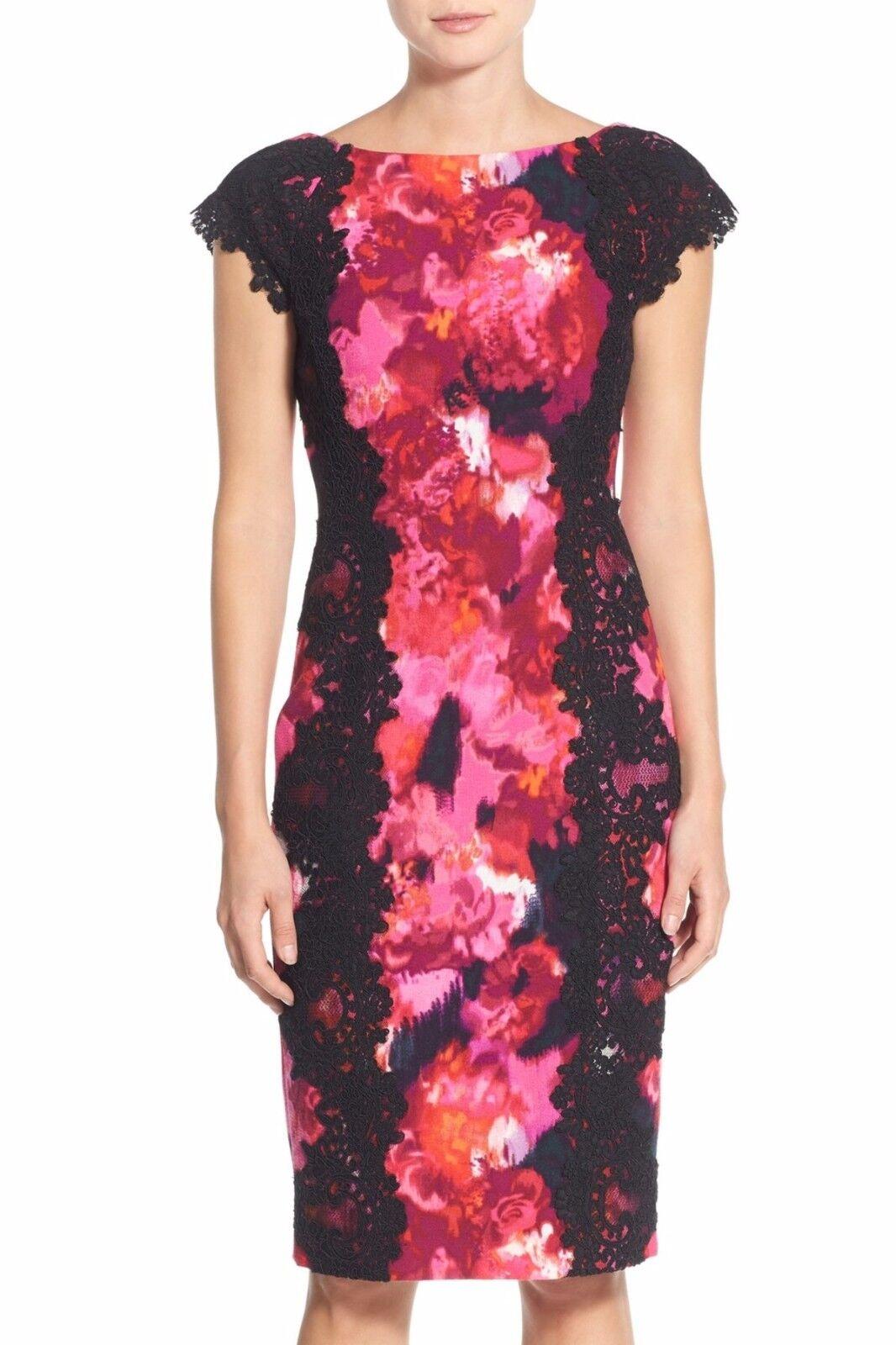 Maggy London Lace & Crepe Sheath Dress  ( size 8)