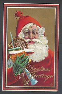1912 PPC* Xmas Greetings W/Santa Wearing Green Glove Holds Toys Embossed Posted