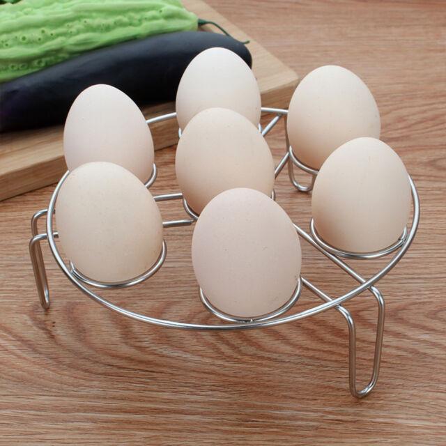 High Quality 7 Hole Stainless Steel Egg Holder Egg Steaming Rack Kitchen Tool Z