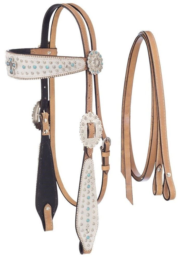 Desert Hope Cross Headstall-Reins Set -Light Oil Leather-White Hair Overlay