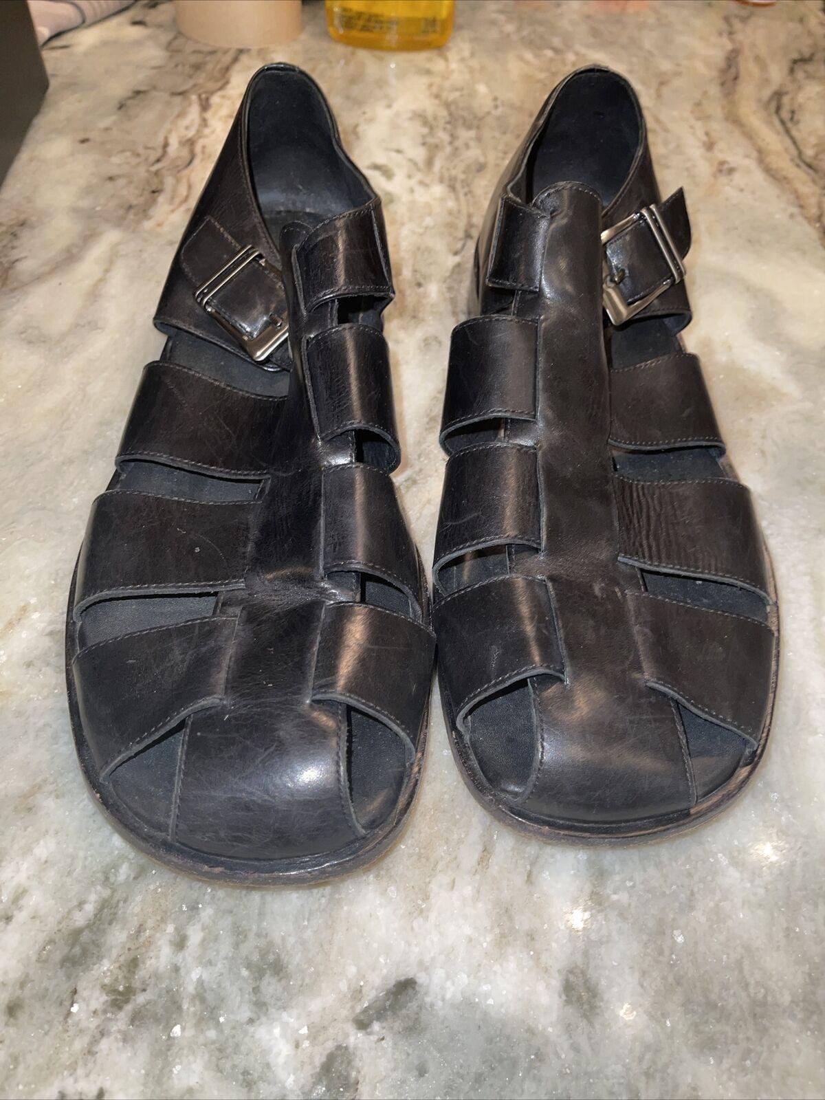 Johnston & Murphy Fisherman Leather Sandals shoes 1388 Black Men's Size 13 M EUC