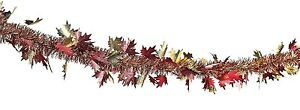 Fall Leaves Tinsel Garland Fall Thanksgiving Autumn Country Crafts & Decor NEW