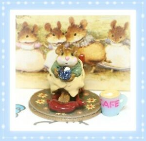 Wee-Forest-Folk-Hot-Cocoa-M-269-2001-Yellow-Blanket-Blue-Mug-RETIRED-Mouse