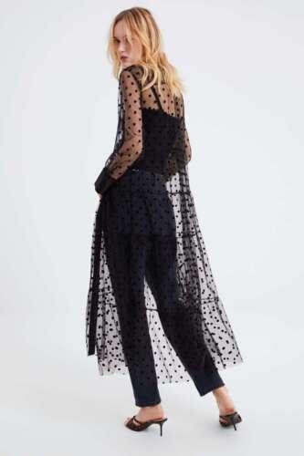 Dress Size Tulle Sheer line Buttons Xs Nero Polka l A Zara New Collar Dot Long wt1Z7YnIxq