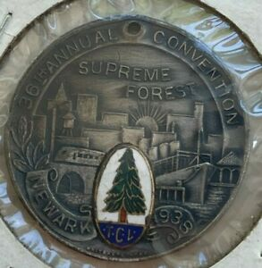 1938 Newark Airport Serves America Supreme Forest Medal - With Enamel
