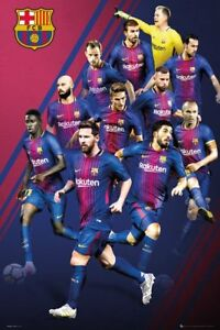 barcelona 2018 players collage poster 24x36 fc soccer football
