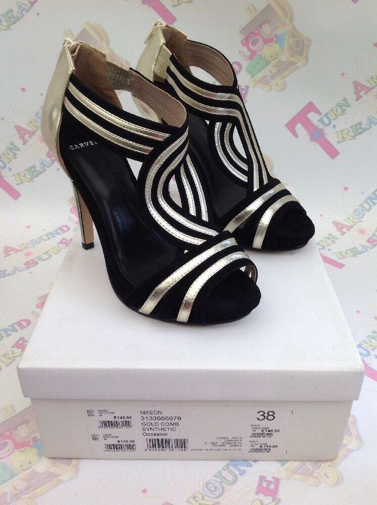 Nuevo Y En Caja carvela Mujer Mason oro oro oro Negro Puntera Abierta Zapatos De Taco 38 5  los nuevos estilos calientes