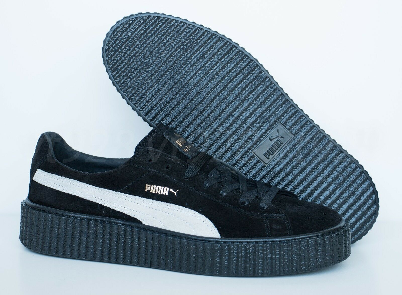 timeless design 8ff40 bc75e NEW PUMA FENTY BY RIHANNA CREEPERS SUEDE BLACK - WHITE MEN'S SHOES ALL SIZES