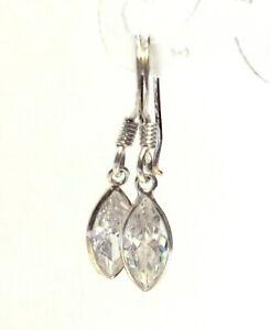Navette-Kristall-Ohrringe-brillant-925-Sterling-Silber-Schmuck-Ohrhaenger-Neu
