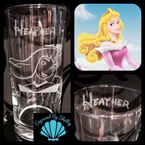 Personalised Disney Princess Sleeping Beauty Glass Handmade Any Name Engraved