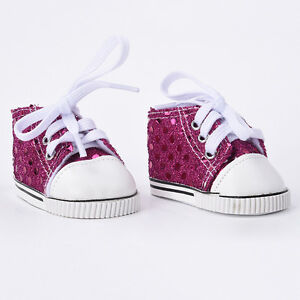Cute-Rose-Red-Sequin-Canvas-Shoes-For-18-Inch-Doll