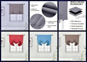 """1PC SOLID TIE UP PANEL CURTAIN BLACK OUT THERMAL INSULATED ROD POCKET 46/"""" X 63/"""""""