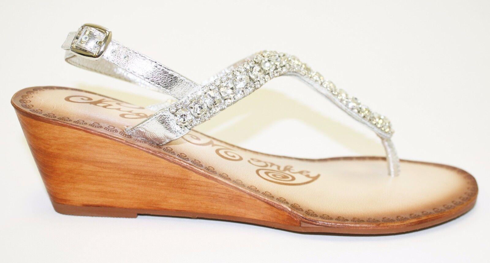 Para mujeres mujeres mujeres Zapatos Naughty Monkey lluvias Vestido Cuña Sandalias Plata Bling  garantía de crédito