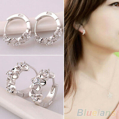 Fashion Women Silver Flower Plated Crystal Rhinestone Stud Earrings Hoop Jewelry