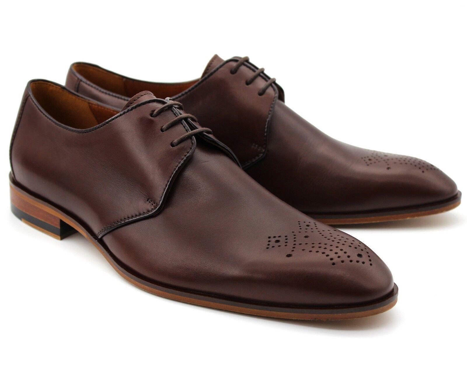 175 UK 7 Homme Marron En Cuir Véritable intelligent Chaussures à Lacets Bureau Travail Mariage EU 41