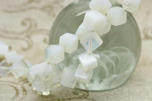 Opalit Beads Full Strand Cube Square Opalit Smooth Gemstone Beads