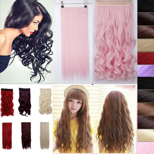 17-30''3/4full head straight/curly/wavy black/blonde/PINK clip in hair extension