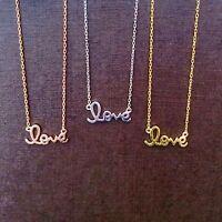 Love Script Cursive Necklace Real Solid Sterling Silver Best Online Price