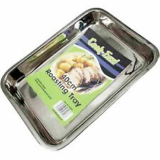 LARGE BAKING TRAY STAINLESS STEEL OVEN ROASTING TIN 40CM GOOD QUALITY FREE P+P