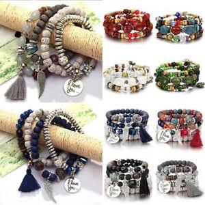 Boho-Multilayer-Natural-Stone-Bead-Tassel-Pendant-Chain-Bracelet-Charm-Women-Set