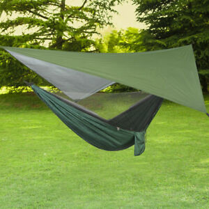 Ultralight Nylon Camping Hammock Set with Mosquito Net and Rain Fly Tent Tarp