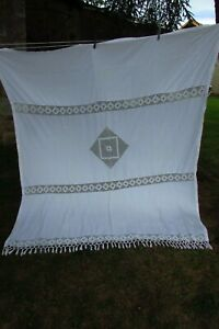 Antique-French-HUGE-Hand-Crafted-Cotton-Crochet-Curtain-Panel-c1920s-6ft-x-6ft