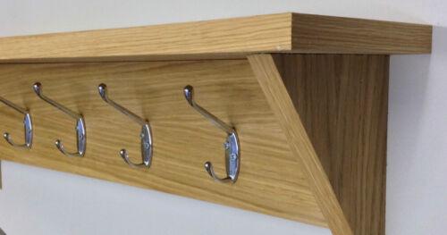 Oak coat hooks with shelf