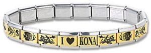 I-Heart-Kona-Hawaii-Fish-Italian-Charm-Bracelet-9-mm-Stainless-Steel-Gold-Link