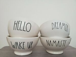NEW Rae Dunn by Magenta HELLO WAKEUP NAMASTE DREAMER Farmhouse Cereal Soup Bowls
