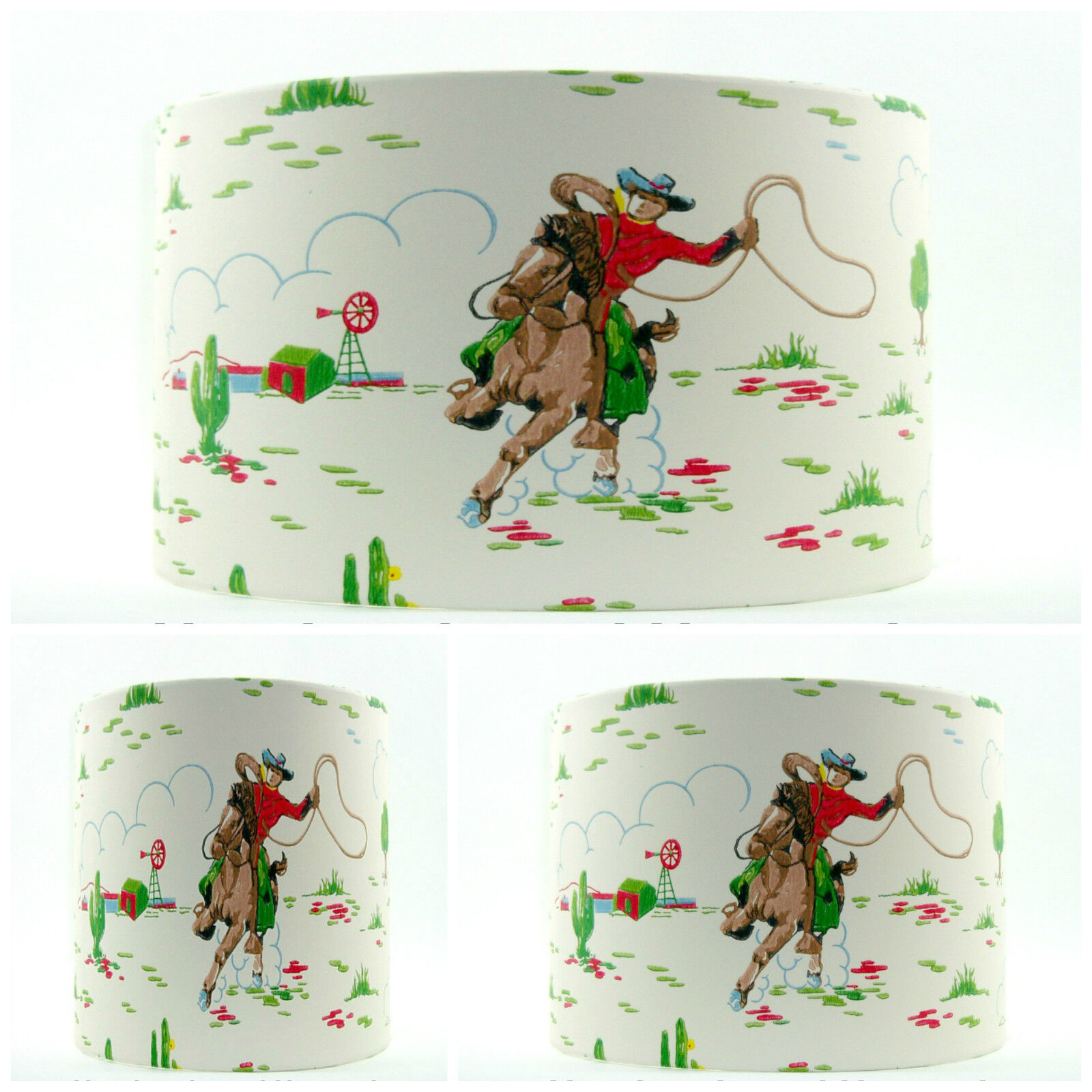 Nouveau abat-jour fait Kidston main avec Cath Kidston fait cowboy style vintage Garçons Papier Peint c0055c