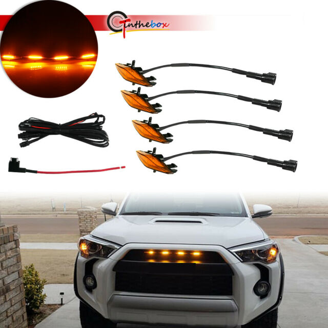 GTINTHEBOX 4pcs Smoked Lens Grill Lights White LED for Toyota Tacoma TRD PRO Grille 2016 2017 2018