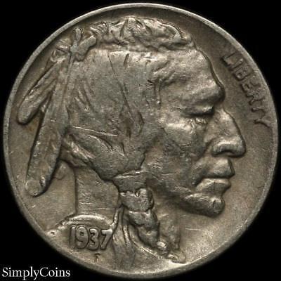 "1937 P INDIAN HEAD /""BUFFALO/"" NICKEL   *VF VERY FINE*   *FREE SHIPPING*"