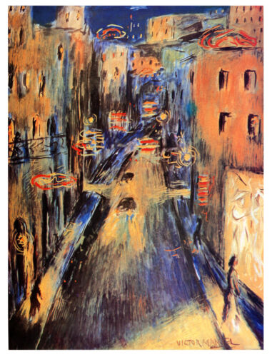 9901.Painting of busy city street.victor manuel.POSTER.home decor graphic art