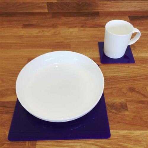 """Size 9/"""" or 12/"""" Square Shaped Black Gloss Finish Acrylic Placemats Sets 4//6//8"""