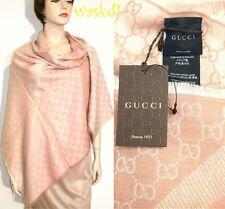 "GUCCI wool/silk Pink/Ivory Monogram Giant 55""-sq scarf PASHMINA shawl NWT Authen"