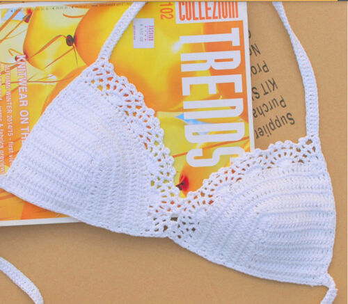 Handmade Boho Bohemian Crochet Crop Top Bikini Top Swimsuit Hippy Casual Cotton