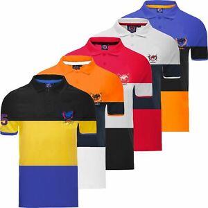 Mens-Polo-Shirt-Big-Stripe-Contrast-Design-Top-Short-Sleeve-100-Cotton-T-Shirt