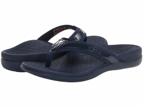 Women Vionic Orthaheel Tide II Navy Orthotic Arch Support Flip Flop Sandals New