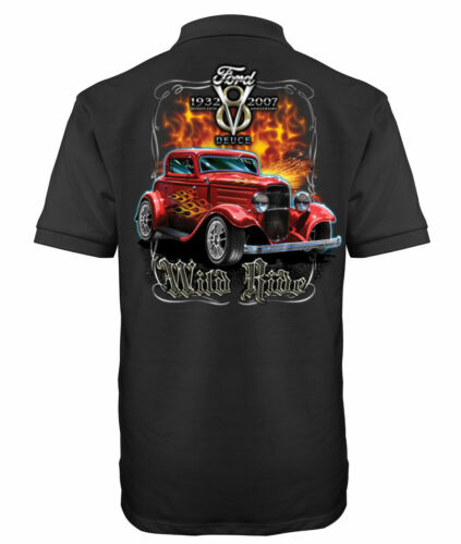 Velocitee Mens Polo Shirt 32 Ford 3 Window Wildride Hotrod Hot Rod Design A17947