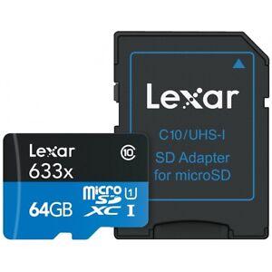 Scheda-di-Memoria-Secure-Digital-64GB-micro-SD-SDXC-ad-Lexar-Cl-10-UHS-I-633X